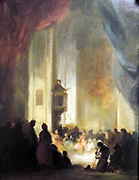 Painting called 'The Sermon' by Eugenio Lucas Velázquez y Padilla 1836.