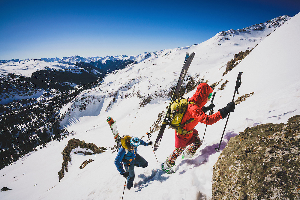 Day 4 - Averill Doering and Ryan Riggins boot their way to ski a steeper line in the northern San Juan Mountains, Colorado.