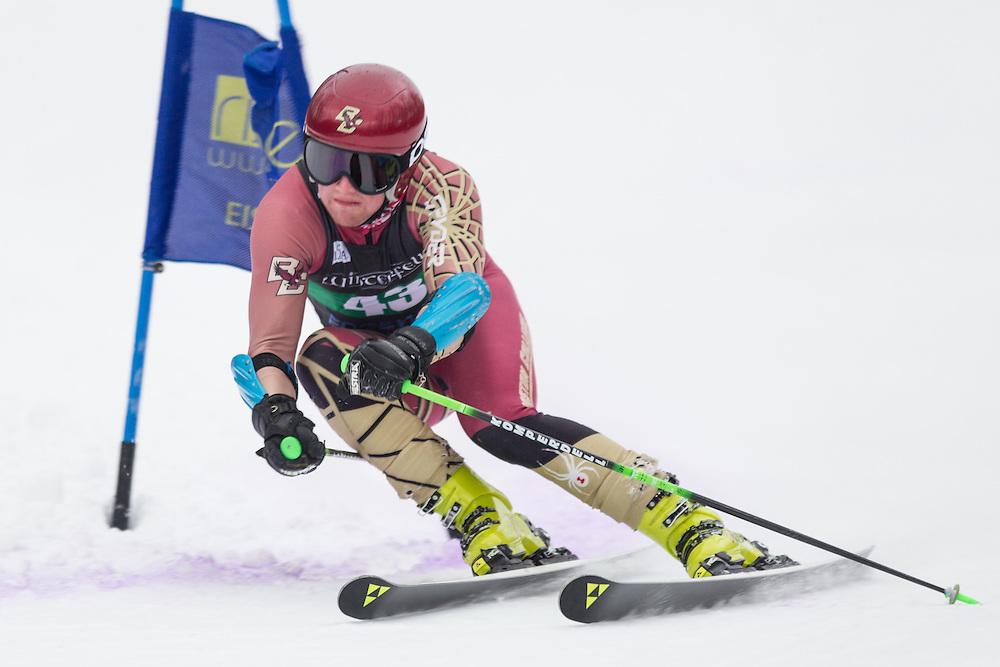 Chris Keating of Boston College, skis during the second run of the men's giant slalom at Jiminy Peak on February 15, 2014 in Hancock, MA. (Dustin Satloff/EISA)