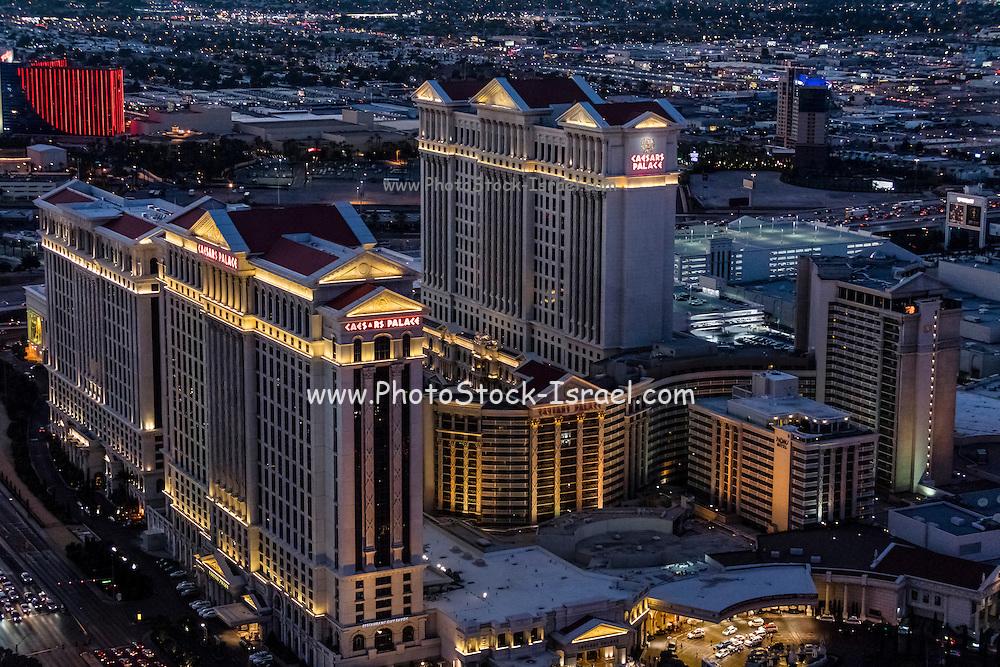 Aerial view of Caesars Palace Hotel the Strip, Las Vegas, Nevada, USA