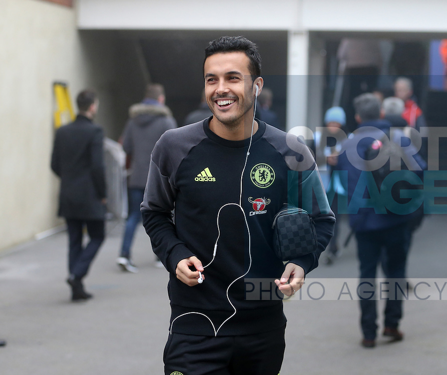 Chelsea's Pedro arrives for the match during the Premier League match at Selhurst Park Stadium, London. Picture date December 17th, 2016 Pic David Klein/Sportimage