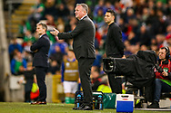 Northern Ireland Manager Michael O'Neill looks frustrated during the UEFA European 2020 Qualifier match between Northern Ireland and Estonia at National Football Stadium, Windsor Park, Northern Ireland on 21 March 2019.