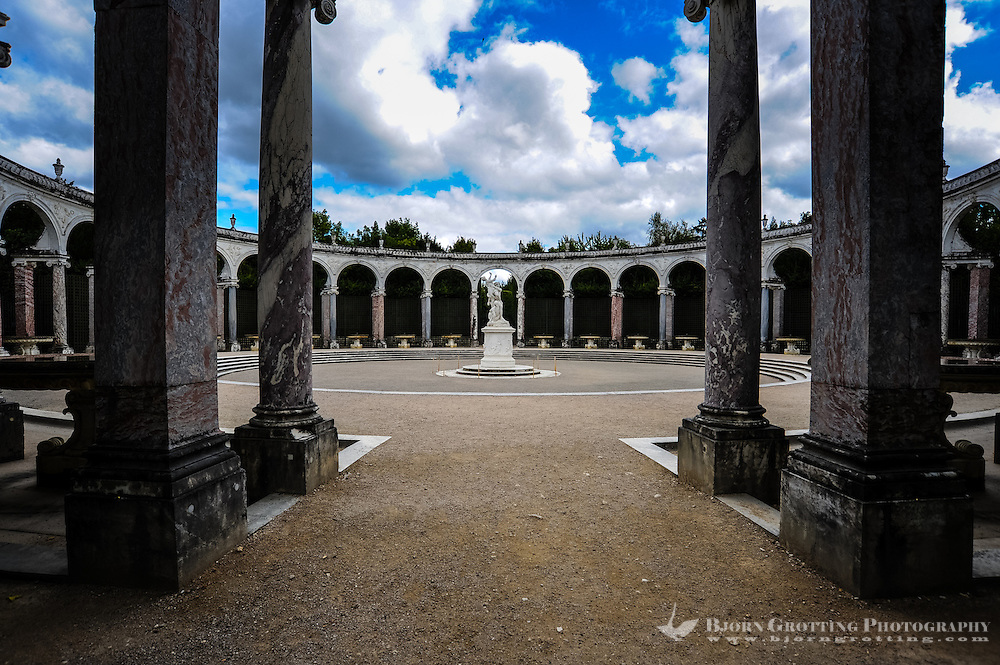 The Palace of Versailles, or simply Versailles, is a royal château close to Paris, France. The Gardens of Versailles. La Colonnade inside the Labyrinth.