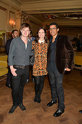 Left to right, RICHARD JONES, SOPHIE ELLIS-BEXTOR and SINDIKA DOKOLO at the Sindika Dokolo Art Foundation Dinner held at The Cafe Royal, Regent Street, London on 18th October 2014.