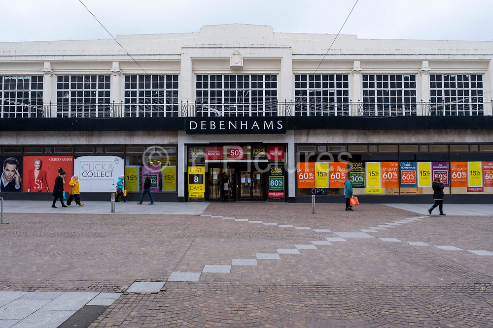 The Folkestone Debenhams store in the final few days of the 'Everything Must Go' sale before closing down on 13th Jauary 2020 in Folkestone, Kent. United Kingdom. The company announced the closure of 19 stores across the UK after going into administration in 2019.