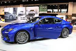 12 February 2015:  2015 LEXUS RC F: Lexus unleashes a major attraction in the Lexus display at the 107th annual Chicago Auto Show, Feb.14-22, 2015. It is the Lexus RC F, a low-slung, athletic coupe for MY2015, designed and engineered to support the most powerful V-8 performance car ever developed by Lexus. Backing up that claim is a 5.0-liter normally aspirated V-8 engine with more than 450 horsepower and more than 383 pound feet of torque. A first for Lexus, this eight-cylinder engine includes Atkinson and Otto cycle to optimize fuel efficiency and performance. Atkinson optimizes fuel efficiency at lower speeds and Otto cycle kicks in when needed for performance. The power is managed by an eight-speed transmission. To help optimize driving dynamics the RC F features an active wing like that on the LFA to increase downforce and improve grip over the rear 19-inch wheels. The hood includes a functional vent to decrease aerodynamic lift and of course there's our most expressive spindle grille yet. In addition the RC F includes a Torque Vectoring Differential. As opposed to systems that react to loss of traction like ABS our Torque Vectoring Differential proactively manages traction in, through and out of corners. Inside, the instrument panel inspired by the LFA includes a seven-inch navigation screen. You'll find a touchpad interface. It's a Lexus first and works much like a touchpad on a laptop or mobile device. Swipe your finger over the touchpad to operate systems like climate control, navigation and media selections.<br /> <br /> First staged in 1901, the Chicago Auto Show is the largest auto show in North America and has been held more times than any other auto exposition on the continent. The 2015 show marks the 107th edition of the Chicago Auto Show. It has been  presented by the Chicago Automobile Trade Association (CATA) since 1935.  It is held at McCormick Place, Chicago Illinois