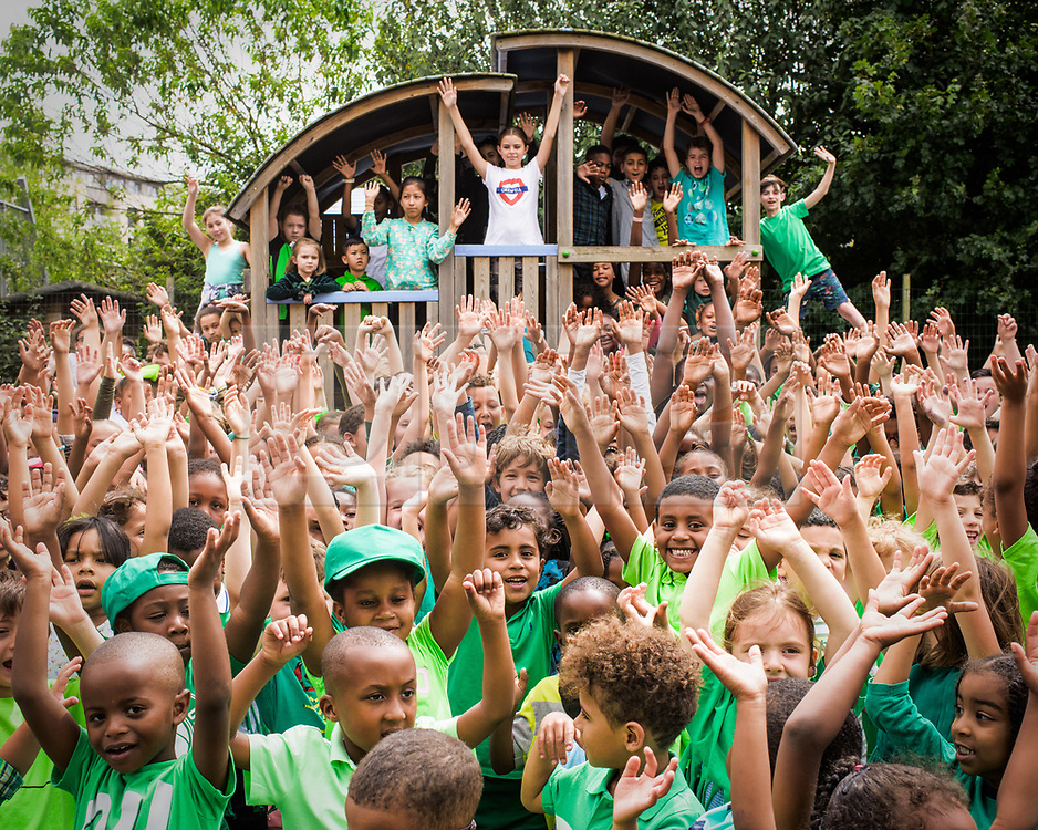**CAPTION CORRECTION Pictures taken TODAY, 23rd, June, 2017**<br /> © London news Pictures. 23/06/2017. London, UK. Children from St Thomas CE Primary School in North Kensington have joined other West London schools, to raise money for the families affected by the Grenfell disaster by wearing green. Several families who attend the school were affected by the fire. Permission given from all parents for the use of the photos. Photo credit: Andre Camara/LNP