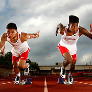 Sharyland track's Sean Landez, left, and James Cole come off the blocks together for a portrait.<br /> Nathan Lambrecht/The Monitor