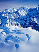 Aerial view of Mount Quincy Adams and Mount Fairweather with additional peaks of the Fairweather Range, Tatshenshini-Alsek Provincial Wilderness Park,  British Columbia, Canada.