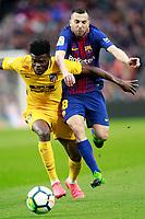 FC Barcelona's Jordi Alba (r) and Atletico de Madrid's Thomas Partey during La Liga match. March 4,2018. (ALTERPHOTOS/Acero)