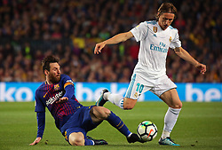 May 6, 2018 - Barcelona, Spain - Luka Modric and Leo Messi during the match between FC Barcelona and Real Madrid CF, played at the Camp Nou Stadium on 06th May 2018 in Barcelona, Spain.  Photo: Joan Valls/Urbanandsport /NurPhoto. (Credit Image: © Joan Valls/NurPhoto via ZUMA Press)