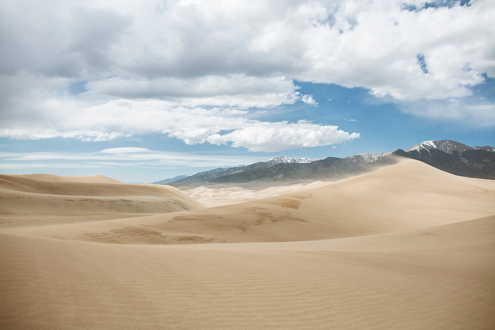 The view from near the top of the first dune of the Sangre De Cristo Mountains at Great Sand Dunes National Park taken in early June