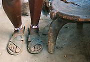 Maasai tribesmans feet and sandals, near Amboseli National Park, Rift Valley Province, Kenya