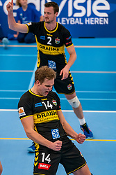 Wessel Blom #14 of Dynamo in action in the second round between Sliedrecht Sport and Draisma Dynamo on February 29, 2020 in sports hall de Basis, Sliedrecht
