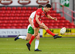 11th November 2018 , Racecourse Ground,  Wrexham, Wales ;  Rugby League World Cup Qualifier,Wales v Ireland ; Josh Ralph of Wales puts in a kick<br /> <br /> <br /> Credit:   Craig Thomas/Replay Images