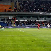 Besiktas's Demba Ba scores during their Turkish Super League soccer match Istanbul Besiktas between Kasimpasa at the Basaksehir Fatih Terim Arena at Basaksehir in Istanbul Turkey on Sunday, 23 November 2014. Photo by Aykut AKICI/TURKPIX