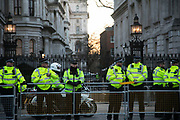 Protesters agains the visit by Saudi prince Bin Salman gather opposite Downing Street March 7th 2018 in London, United Kingdom. Police protec Downing Street 10. Many are angry at the Saudi involvement and continued bombing in Yemen with tens of thousands of civilian casualties and many more displaced by the war. (photo by Kristian Buus/In Pictures via Getty Images)