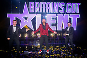 Editorial use only. No book publishing.<br /> Mandatory Credit: Photo by Dymond/Thames/Syco/Shutterstock (10949055ic)<br /> Jon Courtenay celebrates with Ant and Dec after being crowned the winner of Series 14 of Britain's Got Talent<br /> 'Britain's Got Talent' TV Show, Series 14, Episode 12, The FInal, UK - 10 Oct 2020