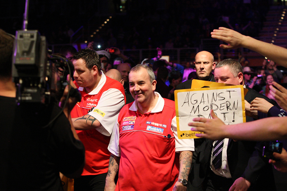 "Darts: Betfair Team World Cup 2013, Hamburg, 03.02.2013<br /> Adrian Lewis (l.) and Phil ""The Power"" Taylor (ENG) celebrates<br /> © Torsten Helmke"