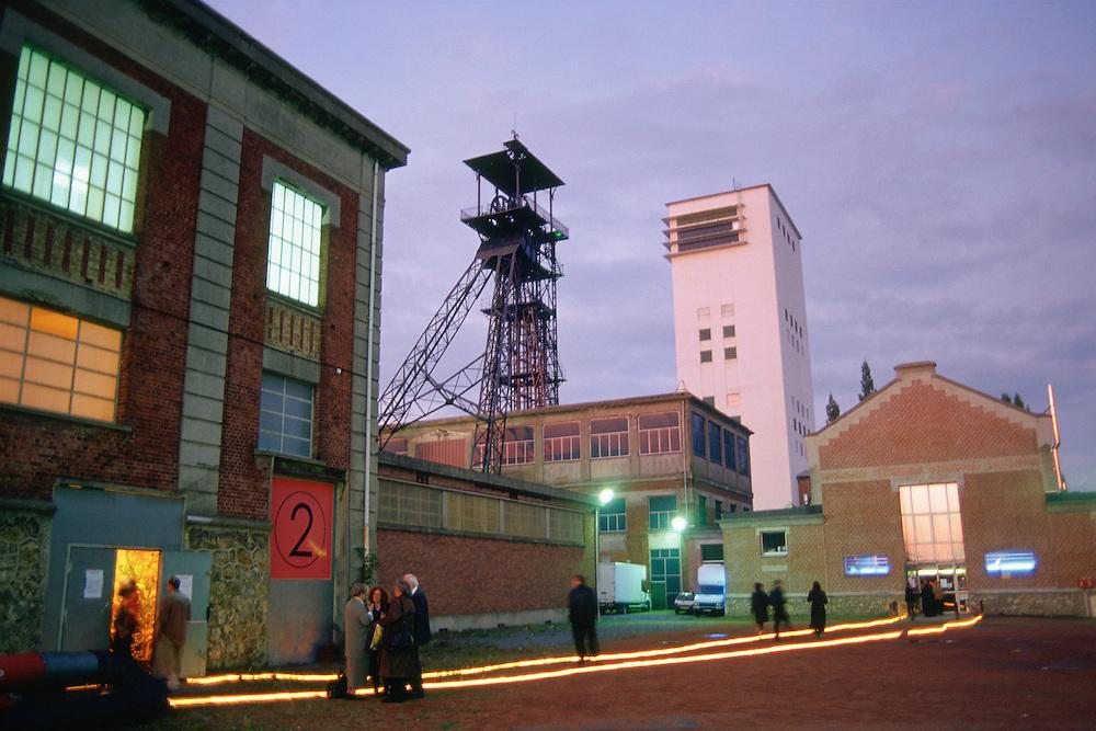 Chevalement de la Base du 11/19. Headframe or Gallows Frame, Nord department, Nord-Pas-de-Calais region,  France. <br /> Depuis sa fermeture en 1986, l'ancien carreau de la mine s'est reconverti en un pôle d'innovation pour favoriser le développement économique et culturel.