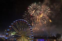Midnight Moment Fireworks lift from Edinburgh Castle.<br /> Edinburgh's Hogmanay 2013.