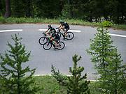 Bernard Hinault coach des cyclistes du team SKODA  amateur  pour participer a l'étape du tour quelques jours avant le tours de France 2017<br /> Montée du col d'izoard