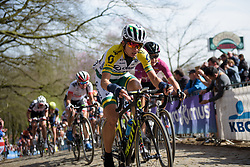 Katrin Garfoot leads on the final Kemmelberg ascent at Women's Gent Wevelgem 2017. A 145 km road race on March 26th 2017, from Boezinge to Wevelgem, Belgium. (Photo by Sean Robinson/Velofocus)