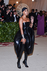 Solange Knowles walking the red carpet at The Metropolitan Museum of Art Costume Institute Benefit celebrating the opening of Heavenly Bodies : Fashion and the Catholic Imagination held at The Metropolitan Museum of Art  in New York, NY, on May 7, 2018. (Photo by Anthony Behar/Sipa USA)