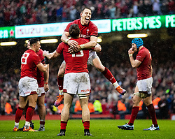 Liam Williams of Wales delighted at the win<br /> <br /> Photographer Simon King/Replay Images<br /> <br /> Six Nations Round 5 - Wales v Ireland - Saturday 16th March 2019 - Principality Stadium - Cardiff<br /> <br /> World Copyright © Replay Images . All rights reserved. info@replayimages.co.uk - http://replayimages.co.uk