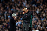 Football - 2019 / 2020 UEFA Champions League - Group C: Manchester City vs. Atalanta<br /> <br /> Reaction from Manchester City manager Josep Guardiola, at the Etihad Stadium.<br /> <br /> COLORSPORT/PAUL GREENWOOD