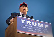 Aug. 21. 2015 Mobile, AL, Republican presidential candidate and business mogul Donald Trump speaks at his campaign pep rally in Ladd Peebles Stadium. Around 20 thousand came to the Ladd-Peebles Stadium to attend Trumps campaign pep rally. People were asked not to bring signs.