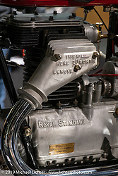 A Royal Standard Swiss made motorcycle (ceased production 1932) at the Display of antique Swiss manufactured motorcycles in the Swiss-Moto Customizing and Tuning Show. Zurich, Switzerland. Friday, February 22, 2019. Photography ©2019 Michael Lichter.