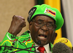 President Robert Mugabe addressing the ruling party ZANU PF's Youth League's National Conference meeting in Harare,Zimbabwe,October 7,2017.(Xinhua/Stringer) (Photo by Xinhua/Sipa USA)