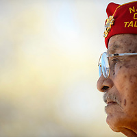 051514  Adron Gardner/Independent<br /> <br /> Navajo Code Talker and Marine Corps veteran Kee Etsicitty watches an honor dance during the Run for the Wall gathering at Red Rock Park Thursday.