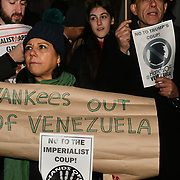 The Latino community Reject imperialist against coup in Venezuel. Venezuelan people want their legitimate President Nicolás Maduro of Venezuela. The protestor also express the Latin nations will join together to fights the imperialist in any way and demand the Bank of England illegally holding 14 tonnes of Venezuelan gold itd should hand back to the Venezuelan authorities opposite Downing Street on 28 January 2019, London, UK.