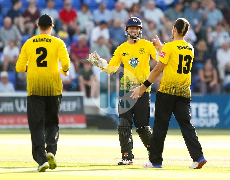 Gloucestershire players celebrate the wicket of Glamorgan's Aneurin Donald<br /> <br /> Photographer Simon King/Replay Images<br /> <br /> Vitality Blast T20 - Round 8 - Glamorgan v Gloucestershire - Friday 3rd August 2018 - Sophia Gardens - Cardiff<br /> <br /> World Copyright © Replay Images . All rights reserved. info@replayimages.co.uk - http://replayimages.co.uk