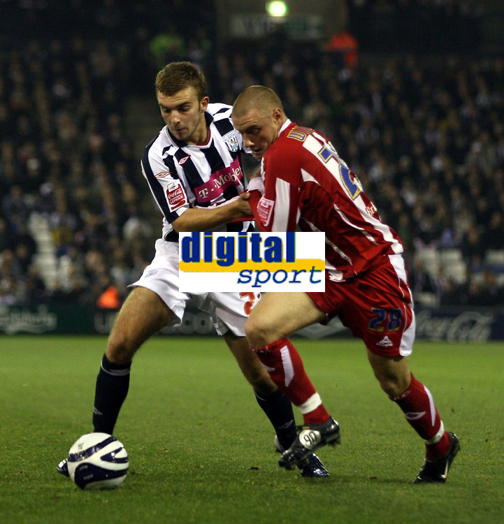 Photo: Mark Stephenson.<br /> West Bromwich Albion v Stoke City. Coca Cola Championship. 03/10/2007.Wsst Brom's James`Morrison (L) and Andy Wilkinson of Stoke