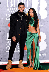 Andre Gray and Leigh-Anne Pinnock attending the Brit Awards 2019 at the O2 Arena, London. Photo credit should read: Doug Peters/EMPICS Entertainment. EDITORIAL USE ONLY