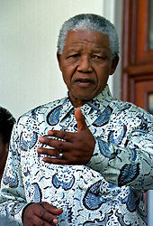 August 20, 1998 - Cape Town, South Africa - South African President NELSON MANDELA on the steps of Tuynhuis. (Credit Image: © Sasa Kralj/JiwaFoto/ZUMAPRESS.com)