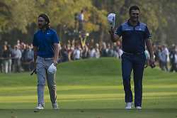 October 13, 2017 - Monza, Italy - Tommy Fleetwood of England (L) and Jon Rahm on Spain (R) on Day One of the Italian Open at Golf Club Milano  (Credit Image: © Gaetano Piazzolla/Pacific Press via ZUMA Wire)