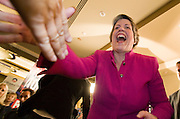 04 NOVEMBER 2008 -- PHOENIX, AZ: Arizona Governor Janet Napolitano (CQ) reacts to word that Barack Obama had won the electoral vote at the Democratic party's election watch party at the Wyndham Hotel in Phoenix. PHOTO BY JACK KURTZ
