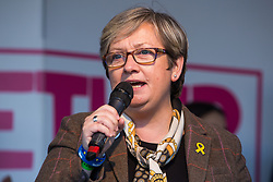 London, UK. 19 October, 2019. Joanna Cherry QC, SNP MP for Edinburgh South West, addresses hundreds of thousands of pro-EU citizens at a Together for the Final Say People's Vote rally in Parliament Square as MPs meet in a 'super Saturday' Commons session, the first such sitting since the Falklands conflict, to vote, subject to the Sir Oliver Letwin amendment, on the Brexit deal negotiated by Prime Minister Boris Johnson with the European Union.