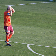 Craig Moore reacts after his mistake led to the Mariners first goal  during the Central Coast Mariners V Brisbane Roar A-League match at Bluetongue Stadium, Gosford, Australia, 19 December 2009. Photo Tim Clayton