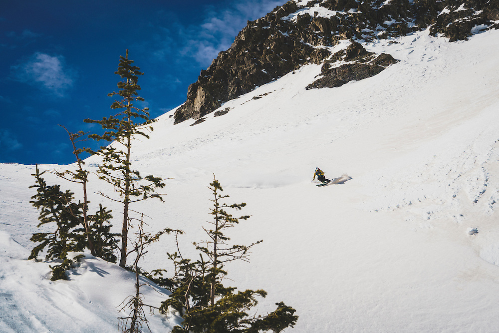 Day 4 - Chip Kogelmann finding the goods days after the last storm in the northern San Juan Mountains, Colorado. The winds from day 1 had carried red sand from the desert southwest to the snowy slopes of the San Juans.