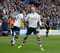 Preston North End's Joe Garner celebrates scoring the third goal of his hat-trick in his clubs 3-0 victory<br /> <br /> Photographer Stephen White/CameraSport<br /> <br /> Football - The Football League Sky Bet League One - Preston North End v Swindon Town - Saturday 25th April 2015 - Deepdale - Preston<br /> <br /> © CameraSport - 43 Linden Ave. Countesthorpe. Leicester. England. LE8 5PG - Tel: +44 (0) 116 277 4147 - admin@camerasport.com - www.camerasport.com