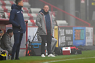 Swansea City manager Steve Cooperin the technical area during the FA Cup match between Stevenage and Swansea City at the Lamex Stadium, Stevenage, England on 9 January 2021.