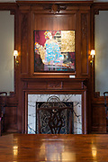 """Over a fireplace in The Ukrainian Institute is Valeriy Hnatenko's painting """"Past."""""""
