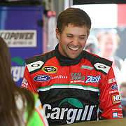 Ricky Stenhouse Jr. and girlfriend Danica Patrick talk in the garage area during the first practice session of the 56th Annual NASCAR Coke Zero400 race at Daytona International Speedway on Thursday, July 3, 2014 in Daytona Beach, Florida.  (AP Photo/Alex Menendez)