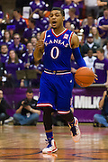 FORT WORTH, TX - JANUARY 28: Frank Mason III #0 of the Kansas Jayhawks brings the ball up court against the TCU Horned Frogs on January 28, 2015 at Wilkerson-Greines AC in Fort Worth, Texas.  (Photo by Cooper Neill/Getty Images) *** Local Caption *** Frank Mason III