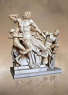 Statue group identified as as the Laocoon described by Pliny as a masterpiece made by the sculptors of Rhodes. The Laocoon depicts a scene from the Trojan War in which Athena and Poseidon sent two great serpants to wrap themselves around Laocoon and his two sons to kill them. Circa 40-30BC, Pope Clement XIV coillection, Vatican Museum Rome, Italy,  art background .<br /> <br /> If you prefer to buy from our ALAMY STOCK LIBRARY page at https://www.alamy.com/portfolio/paul-williams-funkystock/greco-roman-sculptures.html . Type -    Vatican    - into LOWER SEARCH WITHIN GALLERY box - Refine search by adding a subject, place, background colour, museum etc.<br /> <br /> Visit our CLASSICAL WORLD HISTORIC SITES PHOTO COLLECTIONS for more photos to download or buy as wall art prints https://funkystock.photoshelter.com/gallery-collection/The-Romans-Art-Artefacts-Antiquities-Historic-Sites-Pictures-Images/C0000r2uLJJo9_s0c